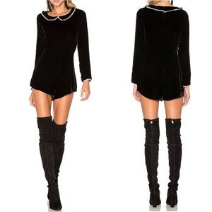 New For Love and Lemons Collette Velvet Romper